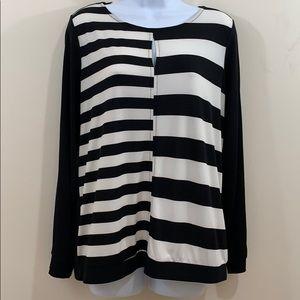 Worthington Long Sleeve Back Zip Striped Shirt